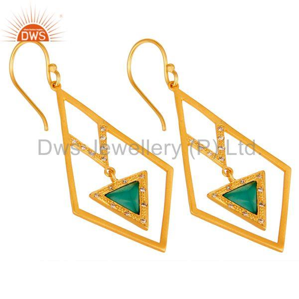 Exporter Lovely Zig Zag Style Brass Earrings 18k Gold Plated with Green Onyx & CZ