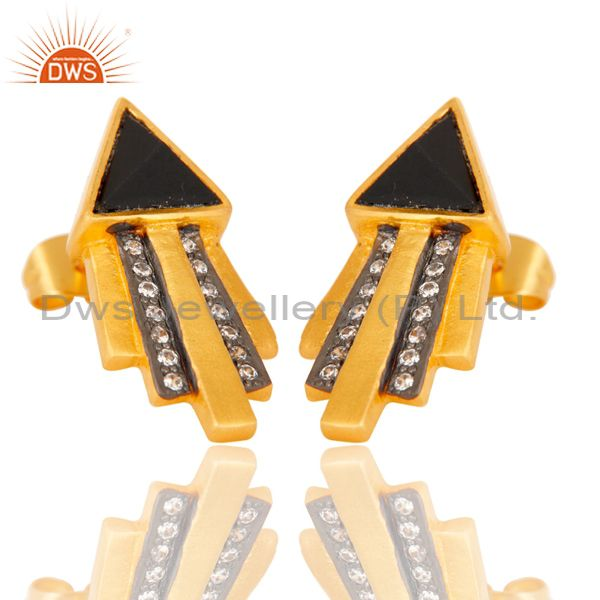 Exporter Traditional Handmade Arrow Design Brass Earrins with 18k Gold Plated & CZ