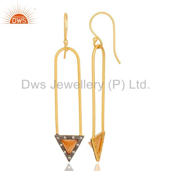Exporter 18k Gold Plated Moonstone & Zirconia Charm Arrow Design Dangle Brass Earrings