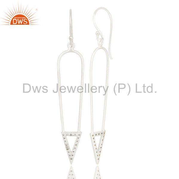 Exporter Silver Plated Long Arrow Charm Design White Zirconia Brass Earrings