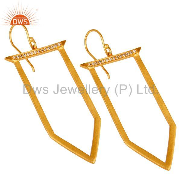 Exporter Traditional Handmade Ice Cream Design Brass Earrins with 18k Gold Plated & CZ