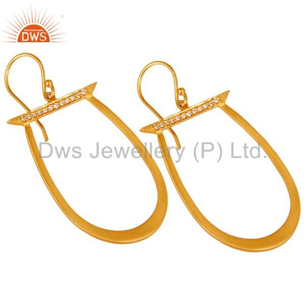 Exporter White Zircon Gold Plated Brass Fashion Drop Earrings Manufacturers