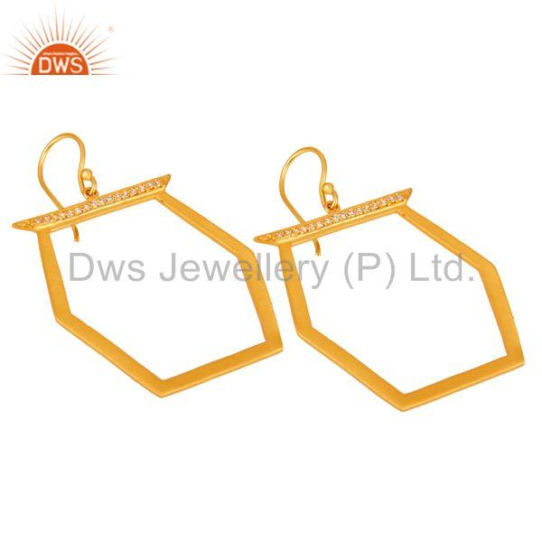 Exporter Handmade Brass Gold Plated Cz Fashion Earrings Jewelry Wholesale