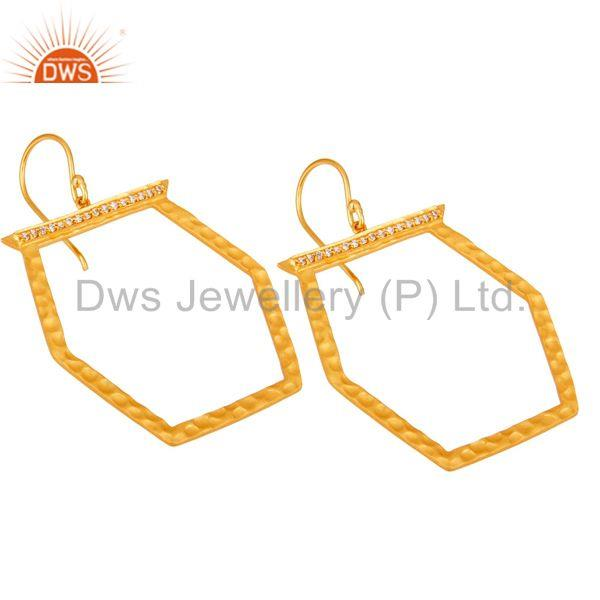 Exporter Designer Brass Gold Plated Fashion Cz Gemstone Earring Jewelry