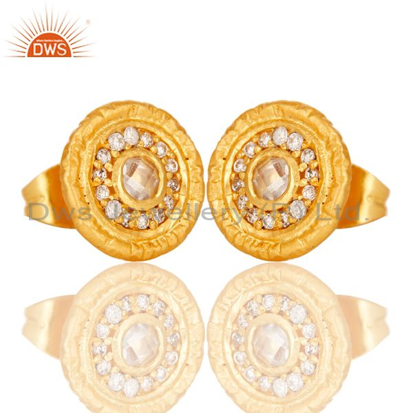 Exporter 18k Gold Plated Round Hanmde Brass Stud Earrings with Cubic Zarconia