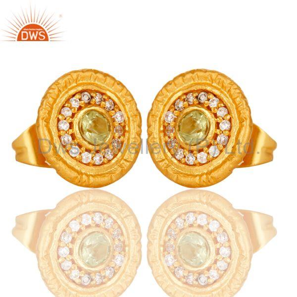 Exporter 18k Gold Plated Round Hanmde Brass Stud Earrings with Peridot & Cubic Zarconia