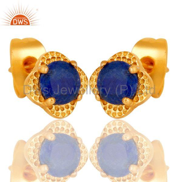 Exporter 18k Yellow Gold Plated With Round Lapis Brass Stud Earrings Jewellery