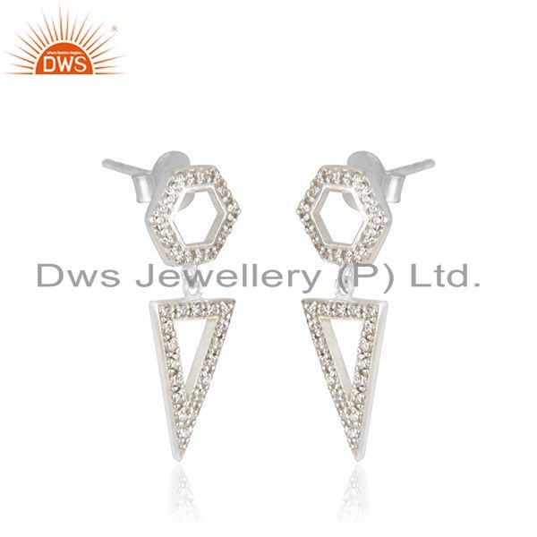 Exporter Triangle Shape Fine Sterling Silver Handmade Zircon Earrings Manufacturer India