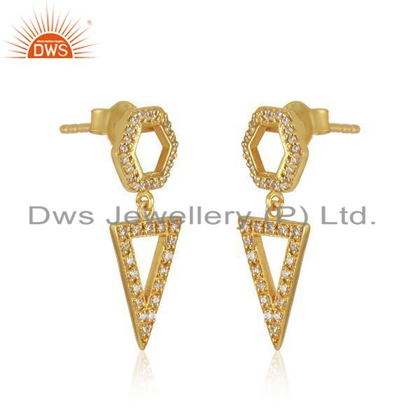 Exporter White Zircon Yellow Gold Plated 925 Silver Girls Earrings Jewelry Wholesale