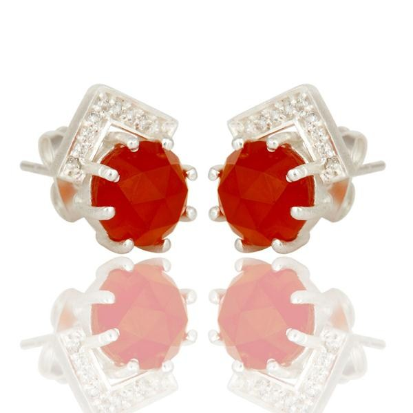 Exporter Carnelian and White Zircon With Sterling Silver Plated Brass Stud Earrings