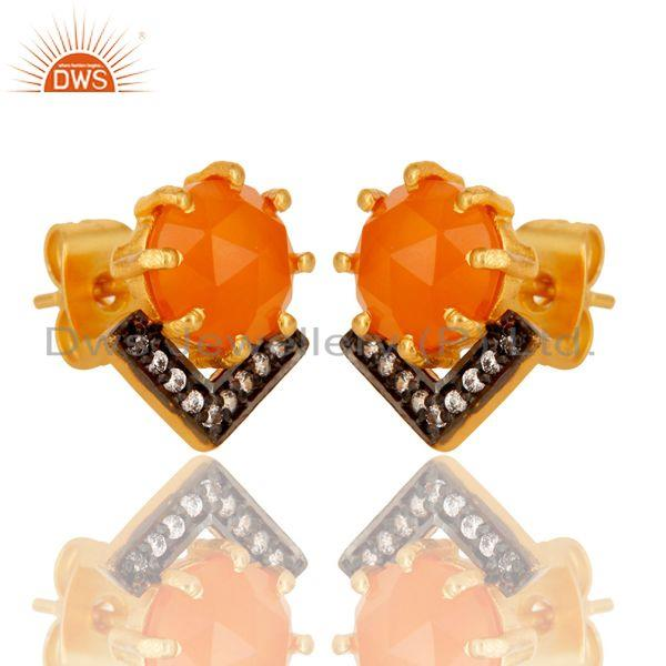 Exporter Carnelian and White Zircon New Look Fashion Design Brass Stud Earrings