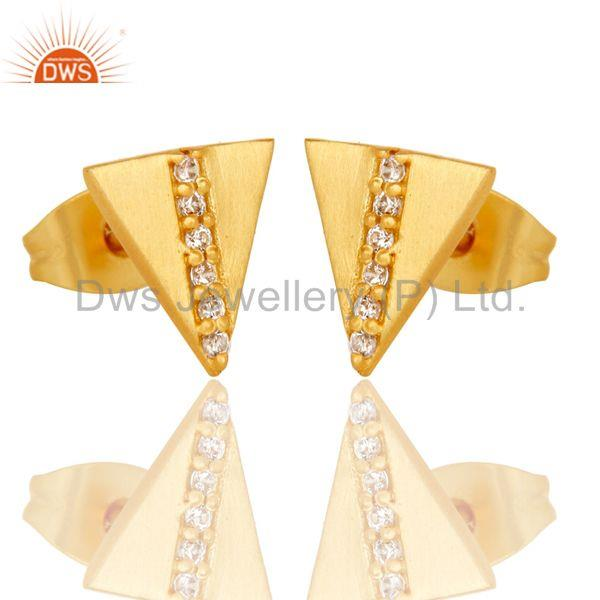 Exporter Beautiful White Zirconia Handmade Brass Studs Earrings With 18k Gold Plated