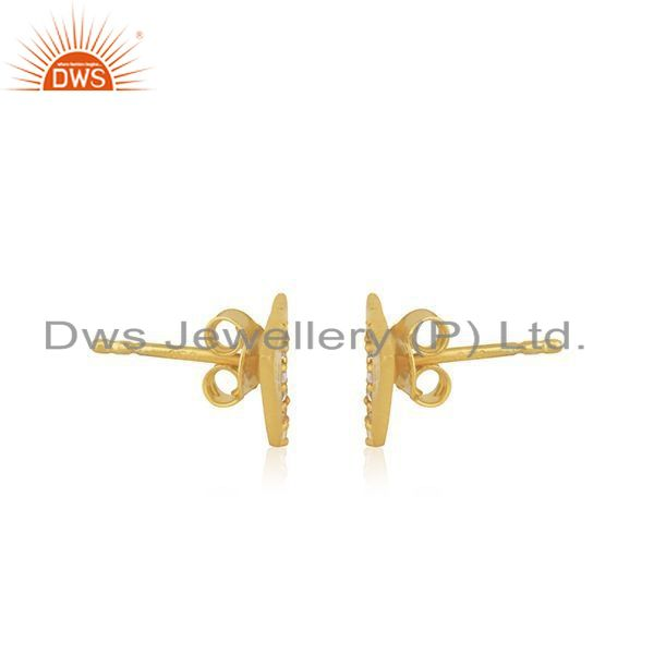 Exporter Gold Plated 925 Silver Triangle White Zircon Stud Earrings Manufacturer Jaipur