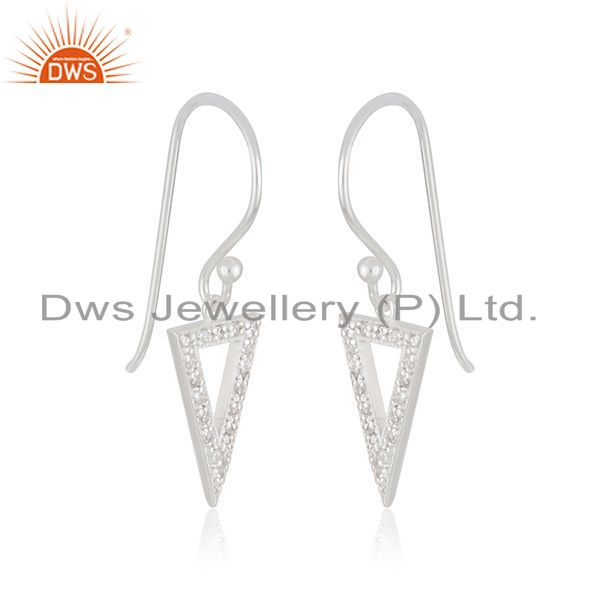 Exporter Triangle Shape Fine Sterling 925 Silver Designer Earrings Wholesaler From India