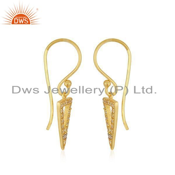 Exporter Triangle Design 925 Silver Yellow Gold Plated White Zircon Drop Earring Supplier