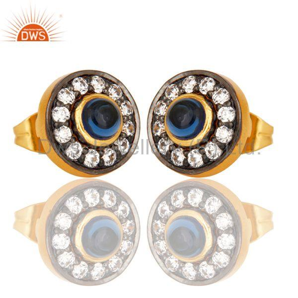 Exporter 18k Gold Plated Round Hanmde Brass Stud Earrings with Corrundum & CZ