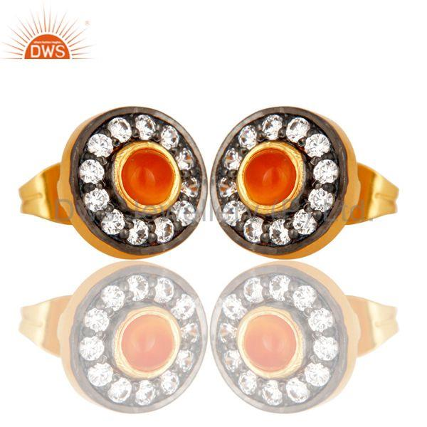 Exporter Carnelian Gemstone Round Stud Brass Fashion Earrings Manufacturers