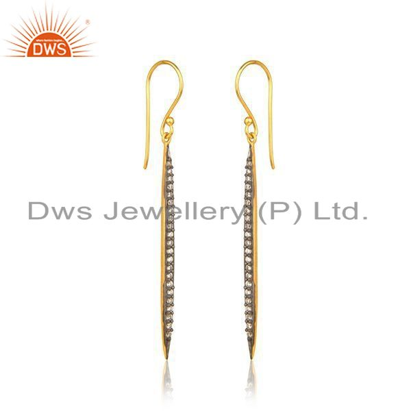 Exporter Liner Shape Gold Plated Silver Cz Designer Earring Jewelry