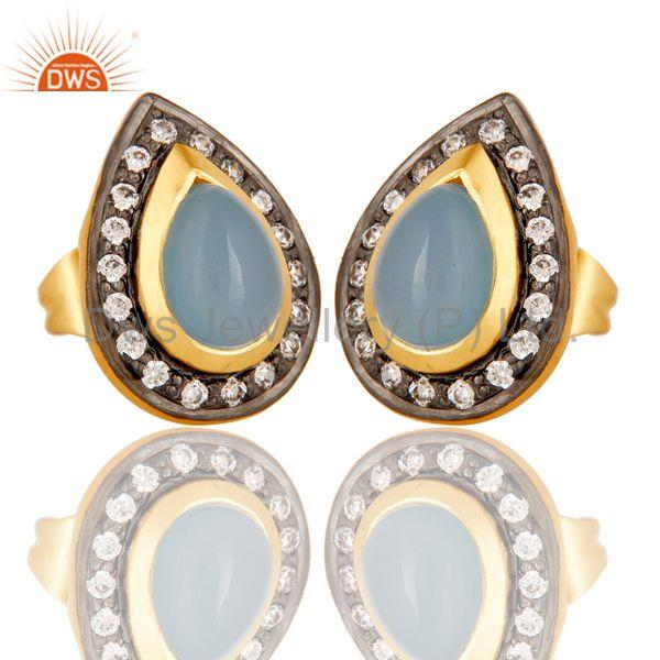 Exporter 18k Gold Plated Handmade Pear Shpe Design Brass Earrings with Chalcedony & CZ