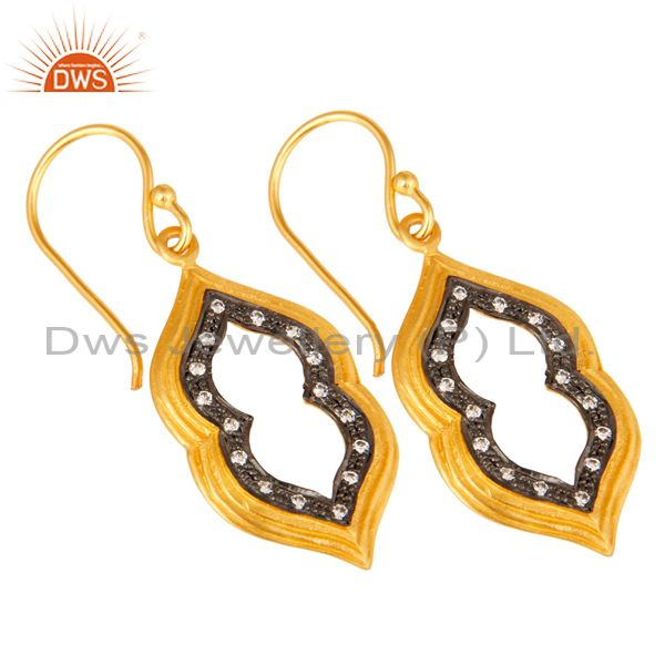 Exporter Handmade Gold Plated Brass Fashion Gemstone Earrings Manufacturers