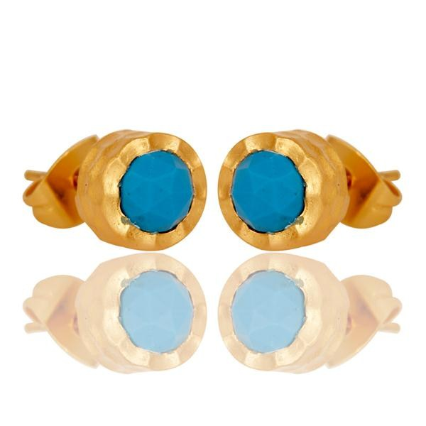 Exporter 18k Gold Plated with Turquoise Round Design Brass Stud Earrings