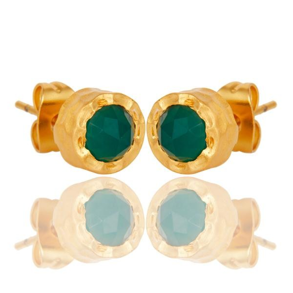 Exporter 18k Gold Plated With Green Onyx Brass Stud Earrings Jewellery
