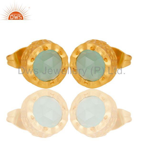 Exporter 18k Gold Plated With Aqua Brass Stud Earrings Jewellery