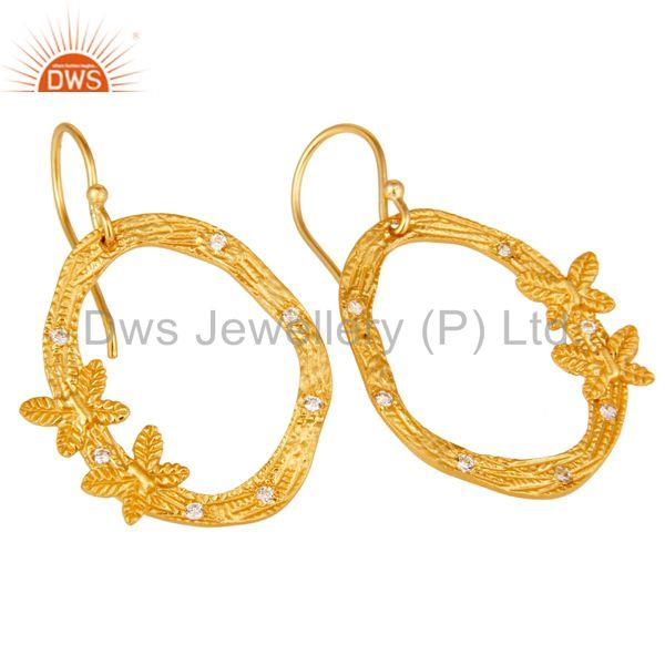Exporter Butterfly Design Gold Plated Brass Fashion CZ Earrings Manufacturers