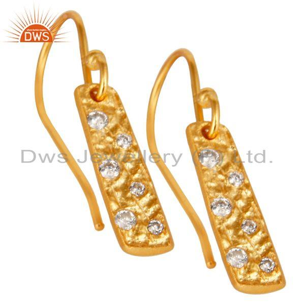 Exporter Handmade 18k Gold Plated Brass Fashion Zircon Earrings Manufacturer