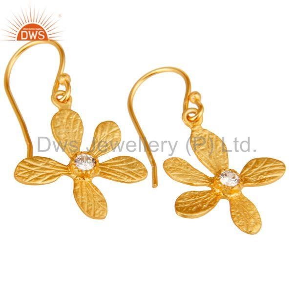Exporter Traditional Handmade 18k Yellow Gold Plated Flower Design Brass Earrings with CZ