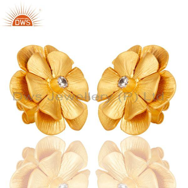 Exporter Floral Design Gold Plated Designer Brass Fashion Stud Earring Supplier
