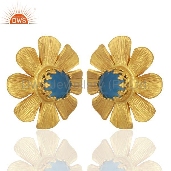 Exporter Blue Chalcedony Stud 18K Yellow Gold Plated Brass Earrings Jewelry