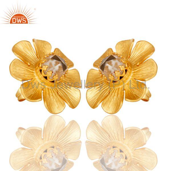Exporter Crystal Quartz Traditional Wide Style Brass Studs Earrings With 18k Gold Plated