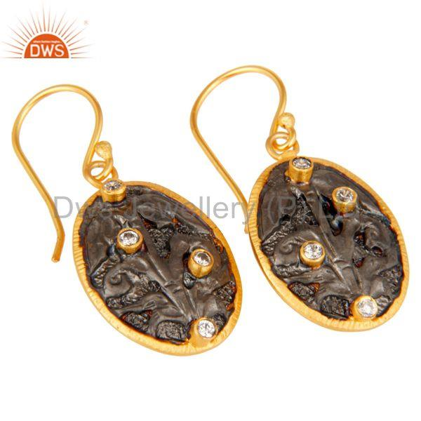 Exporter Handmade Flower Graving Design Brass Earrings with 18l Gold Plated & CZ