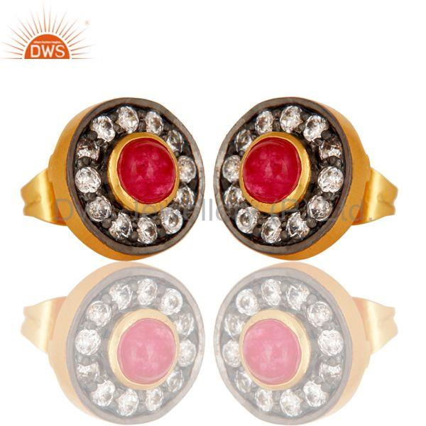 Exporter 18k Gold Plated Brass Stud Earrings with Natural Red Aventurine & Cubic Zarconia