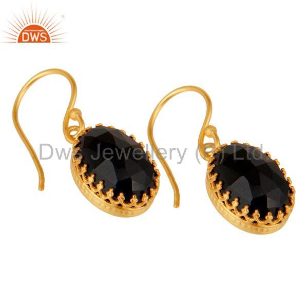 Exporter Black Onyx Gemstone Gold Plated Brass Fashion Drop Earrings Wholesale