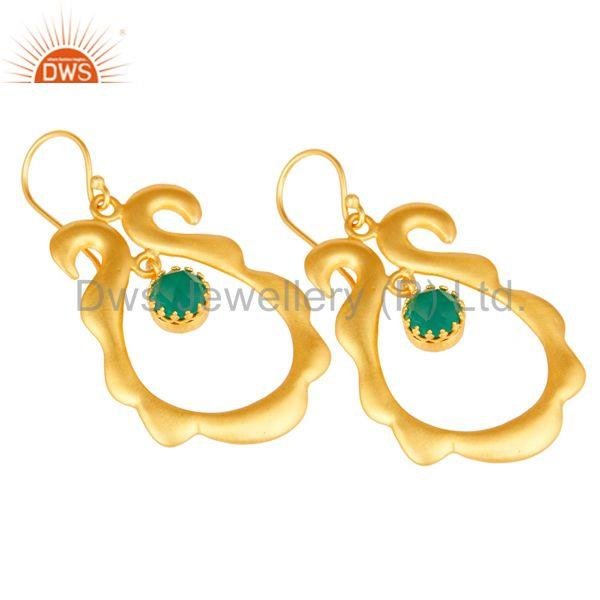 Exporter Amazing 18k Gold Plated Brass Drops Earrings Jewellery With Green Onyx