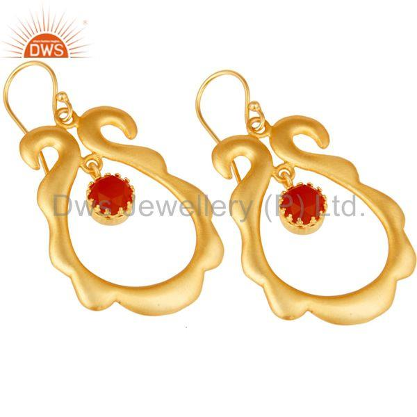 Exporter Red Onyx Gemstone 18k Gold Plated Brass Fashion Womens Earrings