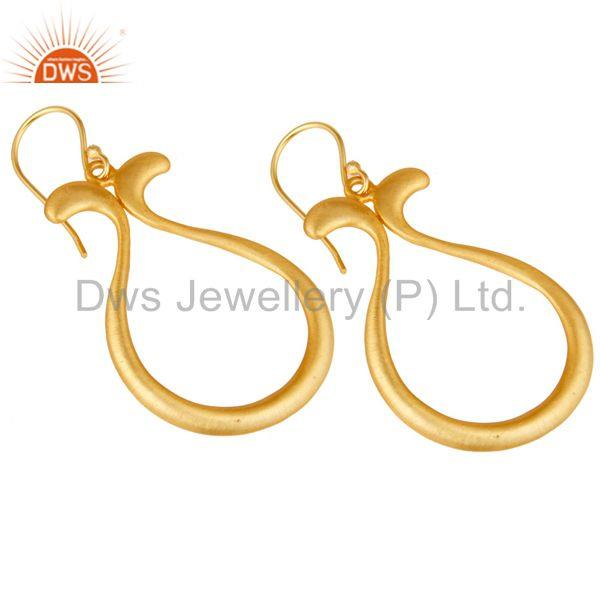 Exporter 18k Yellow Gold Plated Handmade Temple Design Brass Drops Earrings Jewellery