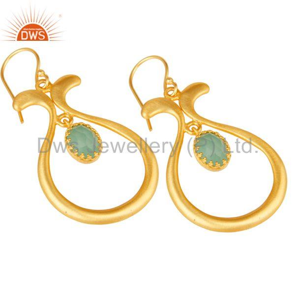 Exporter 18K Yellow Gold Plated Handmade Temple Design Aqua Cultured Brass Drops Earrings