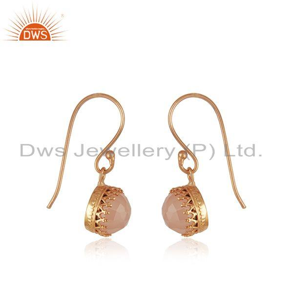 Exporter Rose Chalcedony Gemstone Rose Gold Plated Brass Fashion Earring Supplier