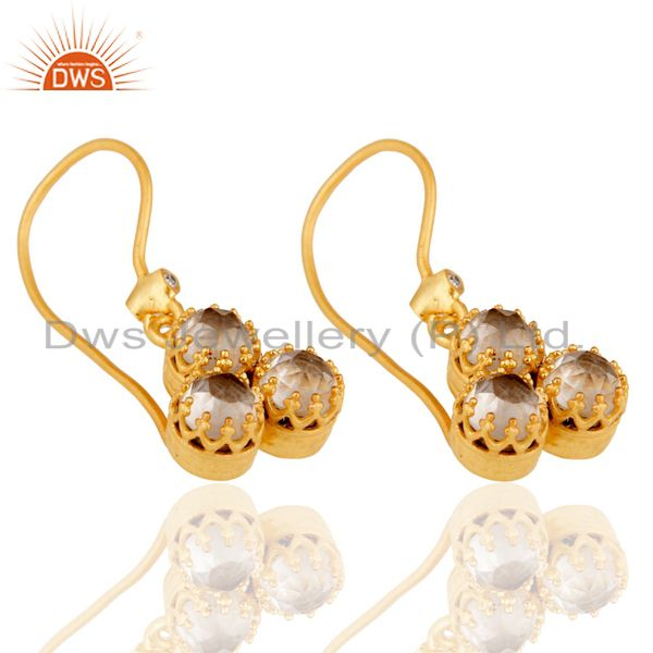 Exporter 22k Yellow Gold Plated Brass Dangle Earring With White Zirconia & Crystal Quartz