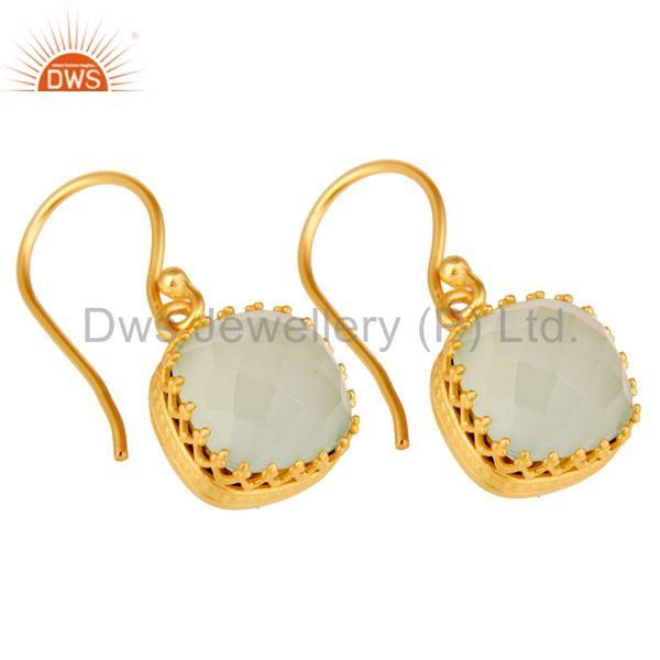 Exporter Traditional Handmade Design 18k Yellow Gold Plated Chalcedony Brass Drop Earring