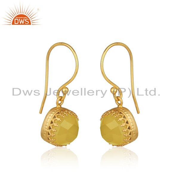 Exporter Yellow Moonstone Gold Plated Brass Fashion Earring Manufacturer
