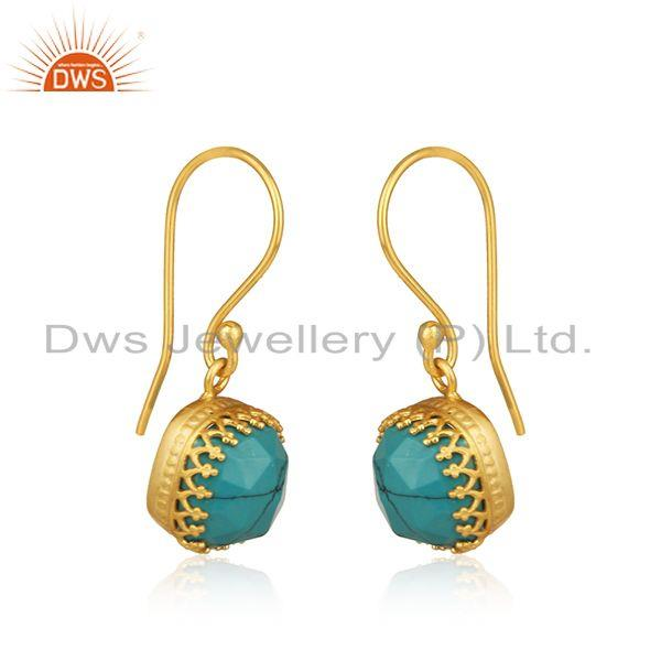 Exporter Matrix Turquoise Gemstone Gold Plated Brass Earrings Manufacturer