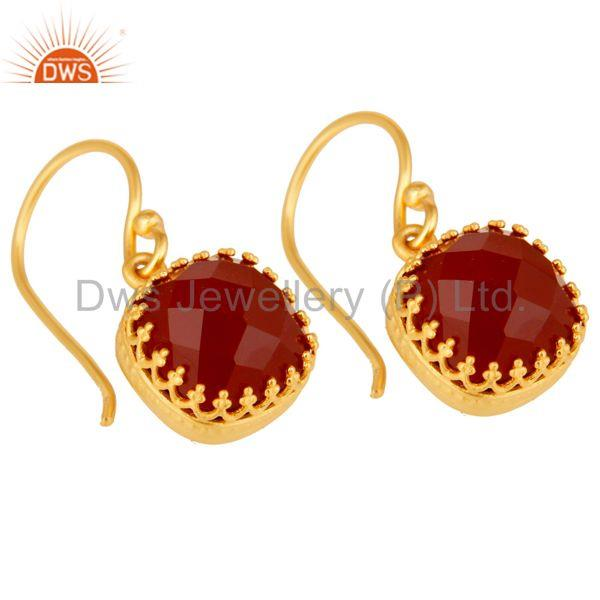 Exporter Handmade Square Cut Design 18k Yellow Gold Plated Red Onyx Brass Drop Earrings