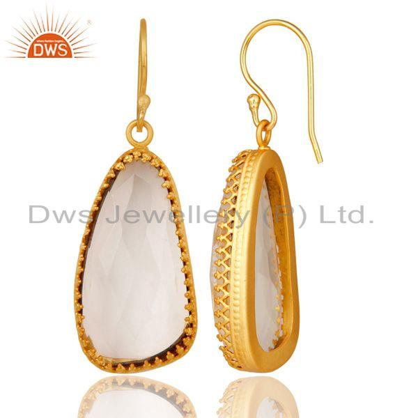 Exporter 18K Yellow Gold Plated Handmade Simple Setting Crystal Quartz Brass Earrings