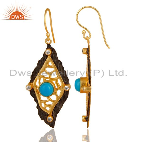 Exporter Indian Designer Gold Plated Brass Fashion Gemstone Earrings Supplier