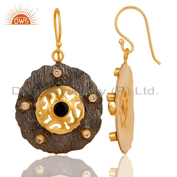 Exporter Black Onyx Gemstone Black and Gold Plated Brass Fashion Earrings