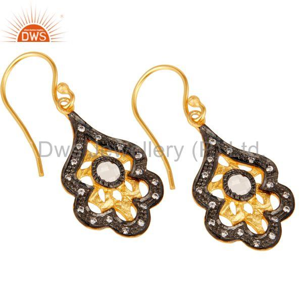Exporter New Fashion Handmade Design Brass Earrings With 18k Gold Plated & White Zirconia